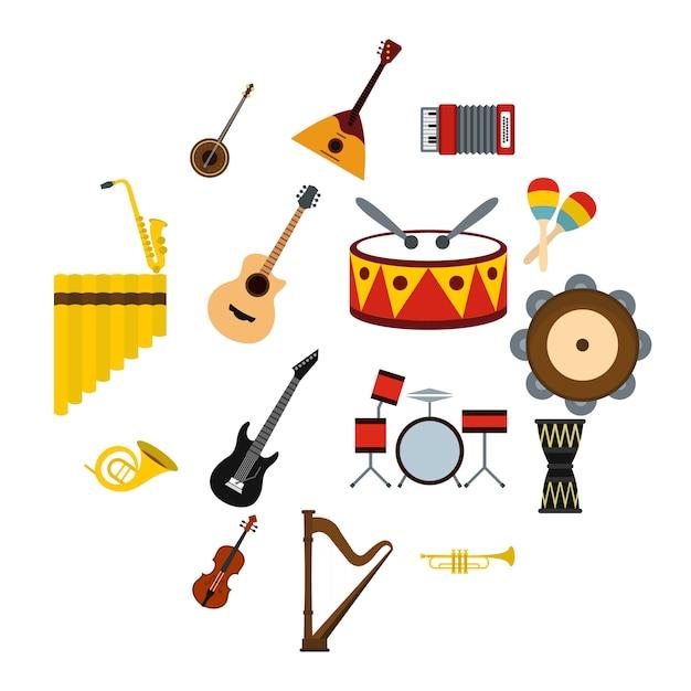 Ensemble d'icônes d'instruments de musique, style plat Vecteur Premium