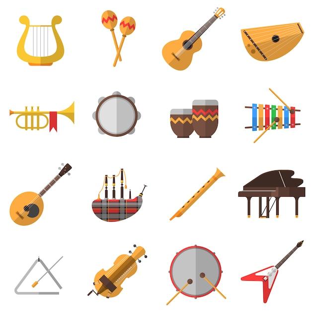 Ensemble d'icônes d'instruments de musique Vecteur gratuit