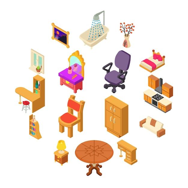 Ensemble d'icônes intérieur maison, style isométrique Vecteur Premium