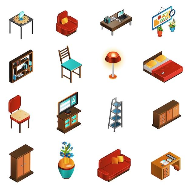 Ensemble d'icônes intérieur de maison Vecteur gratuit