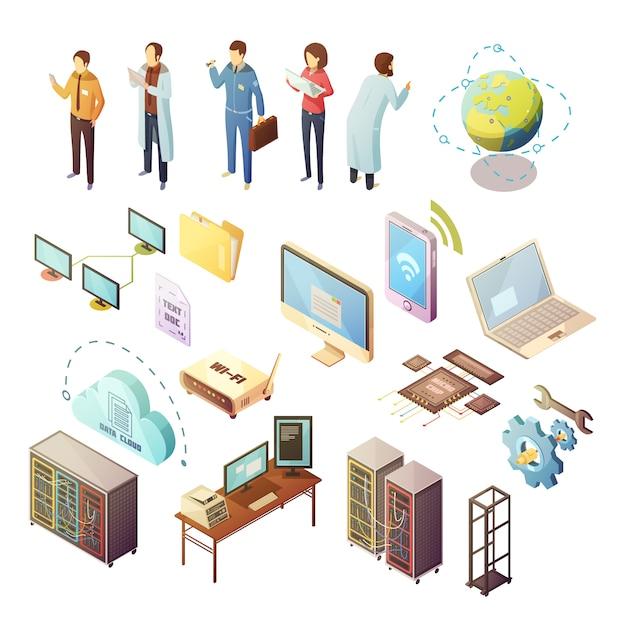 Ensemble d'icônes isolées isométrique du centre de données du matériel de serveur et du personnel technique assurant la sécurité des Vecteur gratuit