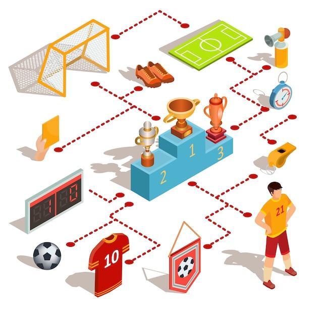 Ensemble d'icônes isometric football soccer Vecteur gratuit