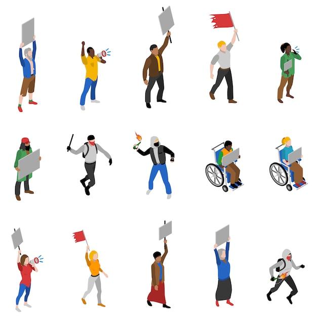 Ensemble d'icônes isométrique de personnes de manifestation de protestation Vecteur gratuit