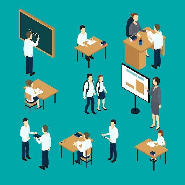 Ensemble D & # 39; Icônes Isométriques Enseignants Et étudiants Vecteur gratuit