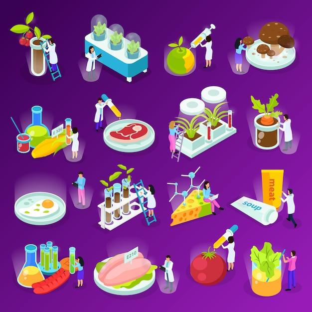 Ensemble D'icônes Isométriques Avec Des Scientifiques De L'alimentation Artificielle Et Du Matériel De Laboratoire Sur Violet Isolé Vecteur gratuit