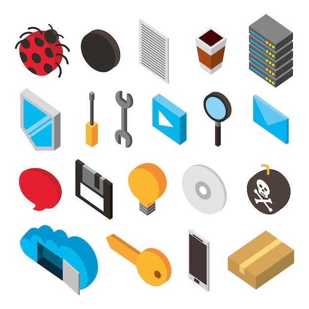 Ensemble d'icônes isométriques de stockage de centre de données Vecteur gratuit