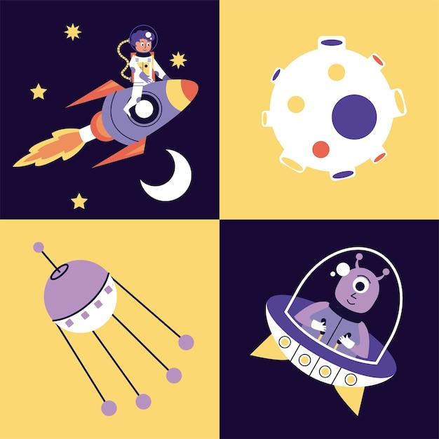 Ensemble D'icônes De Jeu De Quatre Espaces Illustration Vecteur Premium