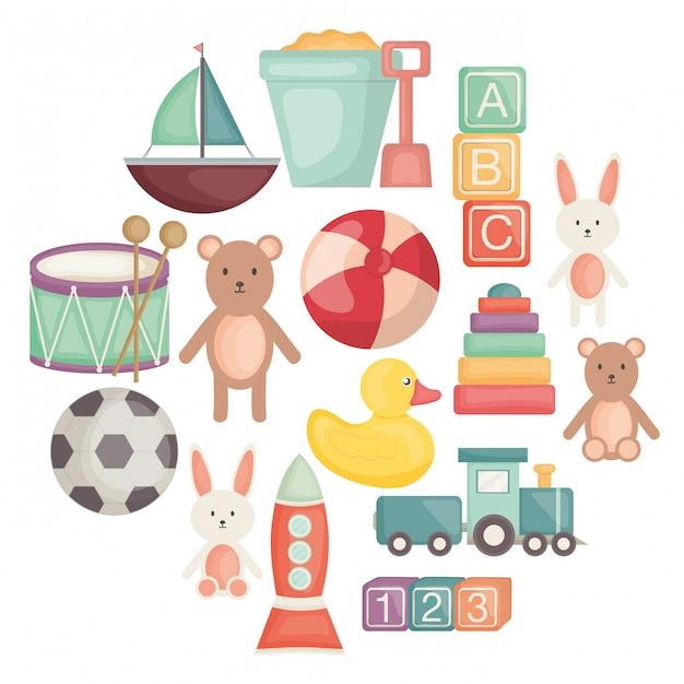 Ensemble d'icônes de jouets pour bébés Vecteur Premium