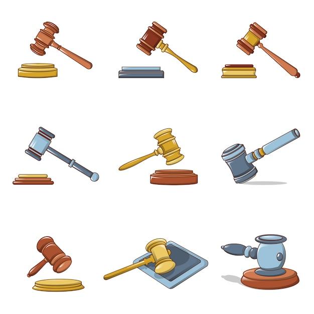Ensemble d'icônes de juge marteau Vecteur Premium
