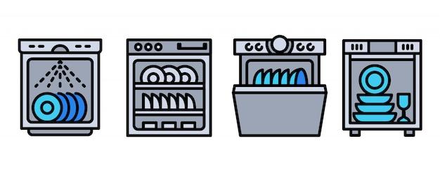 Ensemble d'icônes de lave-vaisselle Vecteur Premium