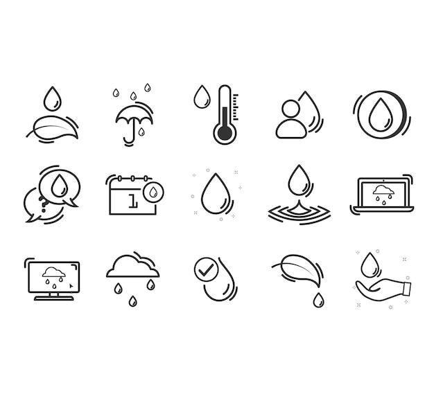 Ensemble D'icônes De Ligne Connexes Eco. Vecteur Premium