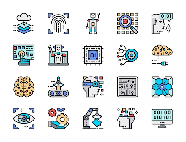 Ensemble D'icônes De Ligne De Couleur D'intelligence Artificielle. Ingénierie, Convoyeur, Big Data Vecteur Premium