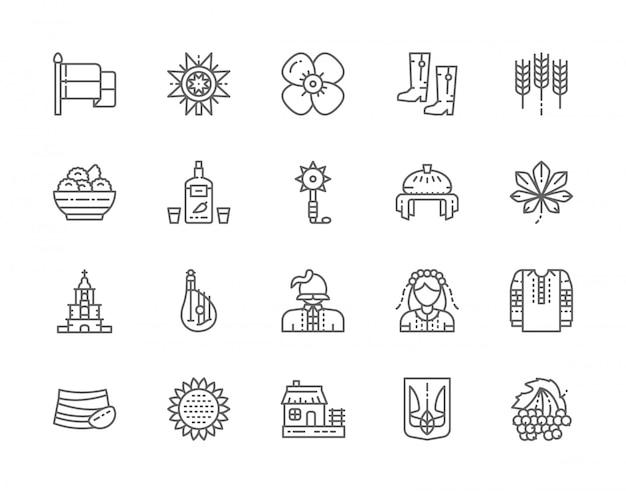 Ensemble d'icônes de ligne de culture ukrainienne Vecteur Premium