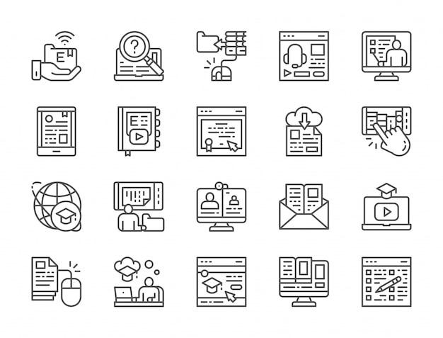 Ensemble d'icônes de ligne d'éducation en ligne Vecteur Premium