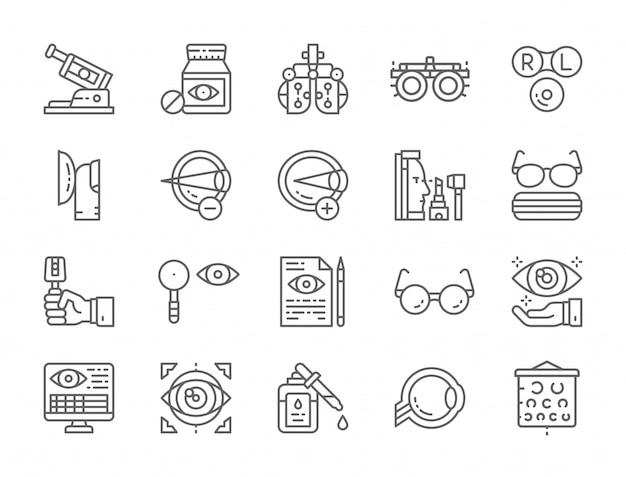 Ensemble d'icônes de ligne d'optométrie Vecteur Premium