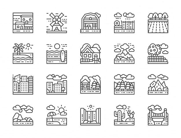 Ensemble d'icônes de ligne de paysage Vecteur Premium