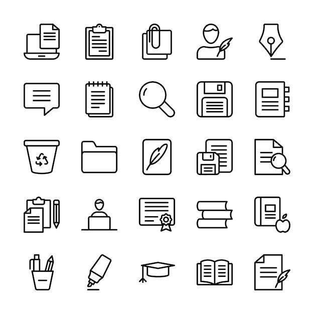 Ensemble d'icônes de ligne de rédaction Vecteur Premium