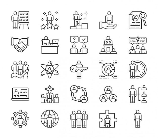 Ensemble d'icônes de ligne de ressources humaines. employé, pigiste, recrutement et plus. Vecteur Premium