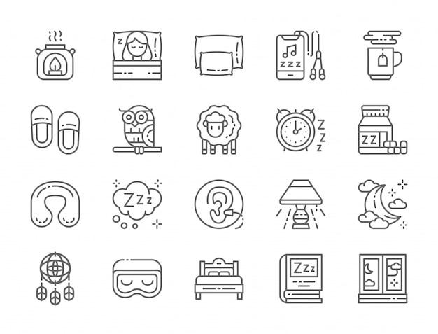Ensemble d'icônes de ligne de sommeil Vecteur Premium