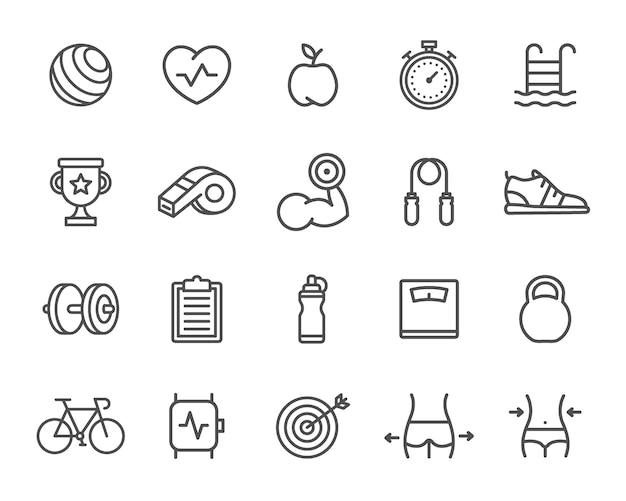 Ensemble d'icônes de ligne de sport. cible, montre intelligente, vélo, bouteille, haltère et plus Vecteur Premium