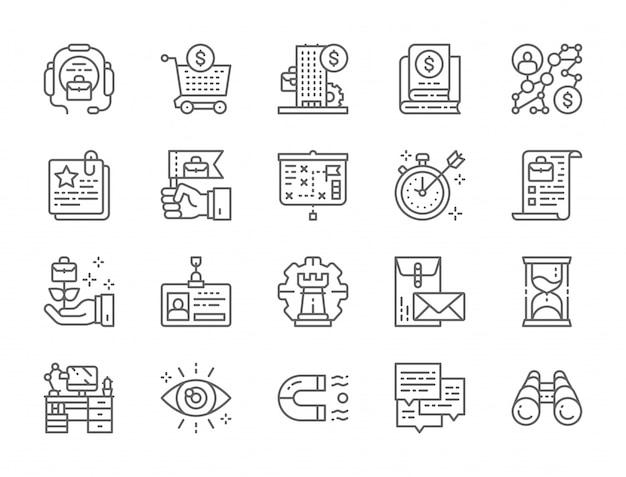 Ensemble d'icônes de ligne de stratégie d'entreprise Vecteur Premium