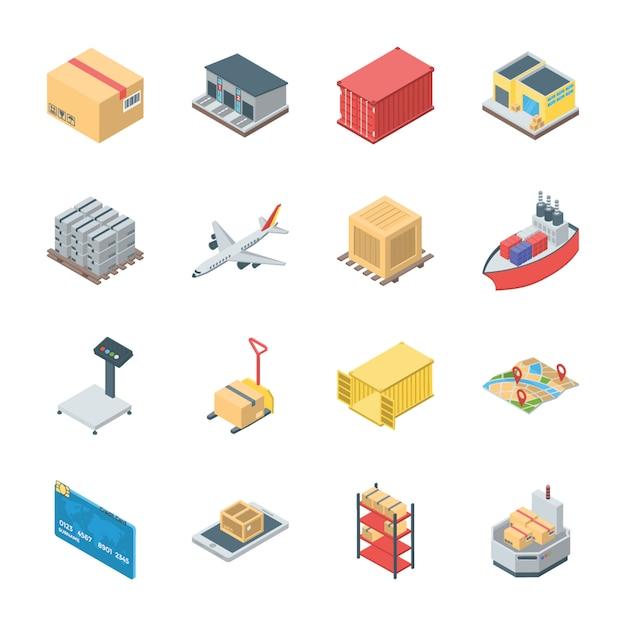 Ensemble d'icônes de logistique Vecteur Premium