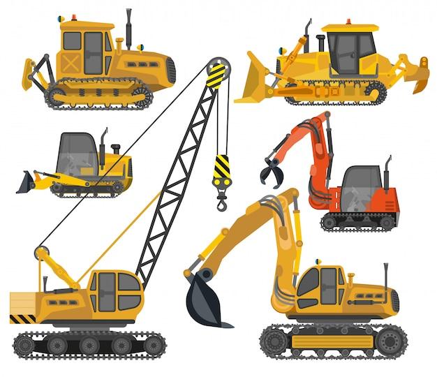 Ensemble d'icônes de machines de construction Vecteur Premium