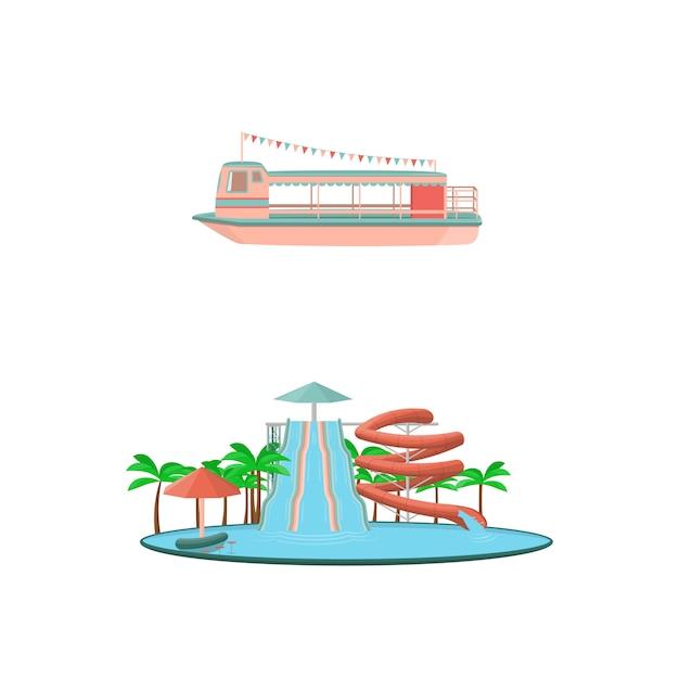Ensemble d'icônes de manèges parc d'attractions de dessin animé Vecteur Premium