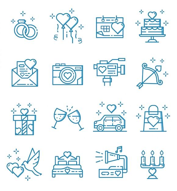 Ensemble d'icônes de mariage avec style de contour Vecteur Premium