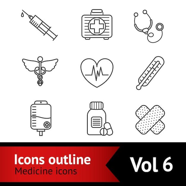 Ensemble d'icônes de médecine Vecteur Premium