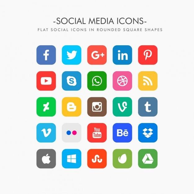 Ensemble d'icônes de médias sociaux plates Vecteur gratuit