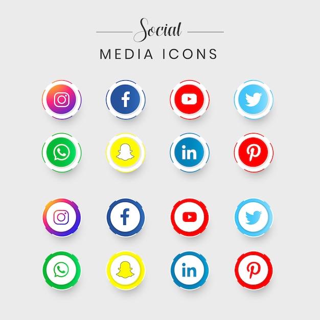 Ensemble d'icônes de médias sociaux les plus populaires Vecteur Premium