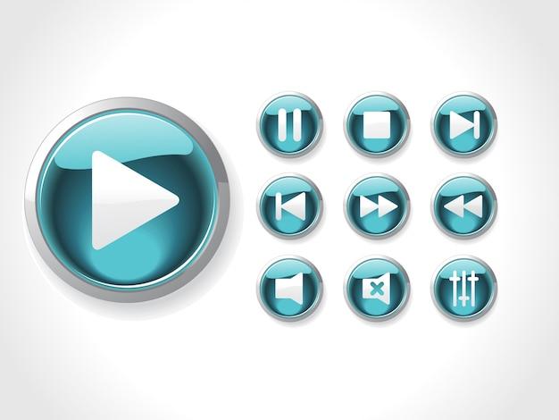 Ensemble D'icônes De Médias Vecteur gratuit