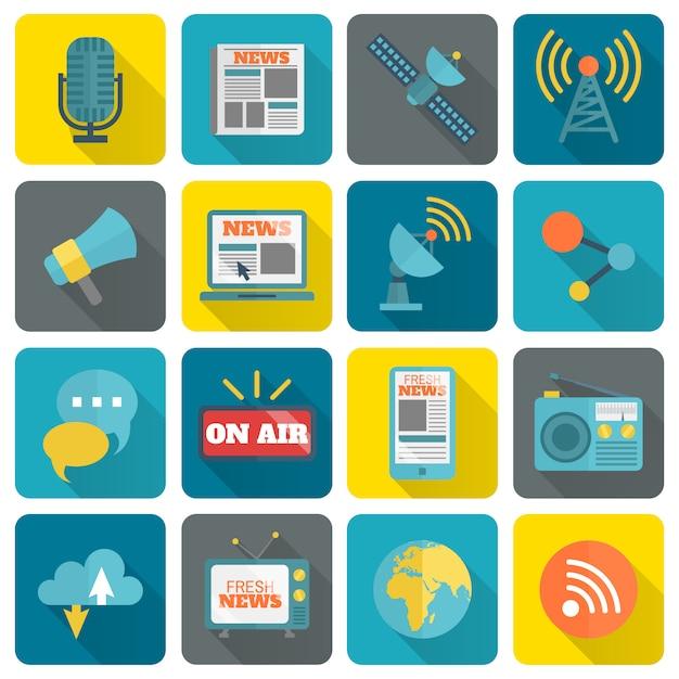 Ensemble d'icônes médiatiques Vecteur gratuit