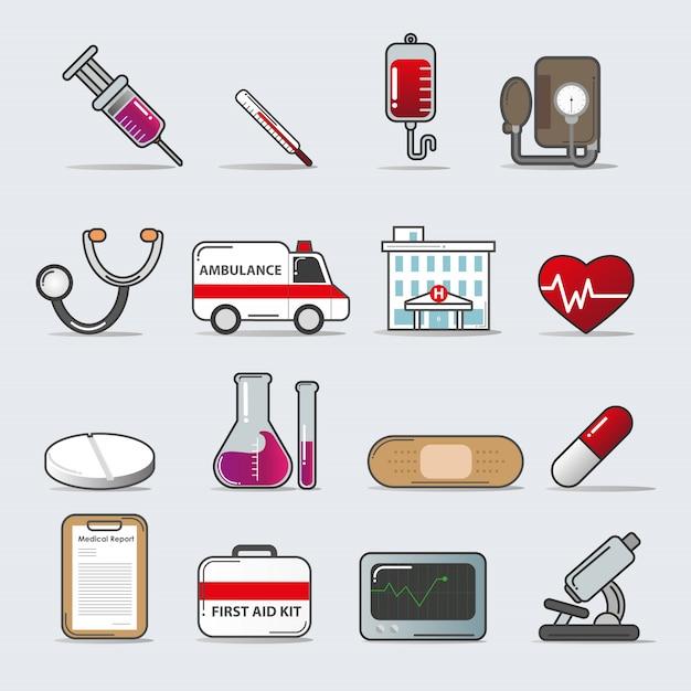 Ensemble d'icônes médicales Vecteur Premium