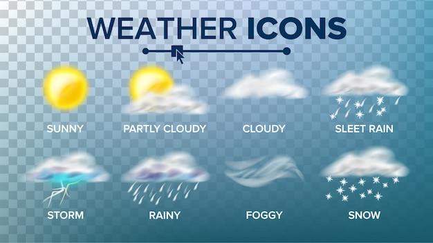 Ensemble d'icônes météo Vecteur Premium