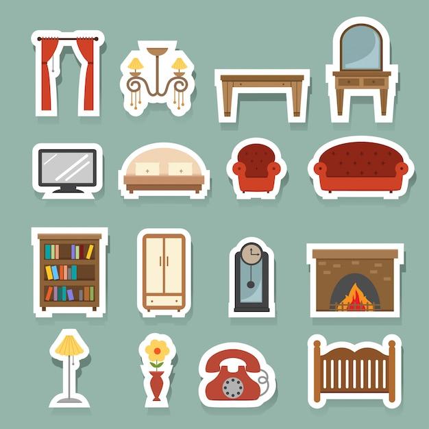 Ensemble d'icônes de meubles Vecteur Premium