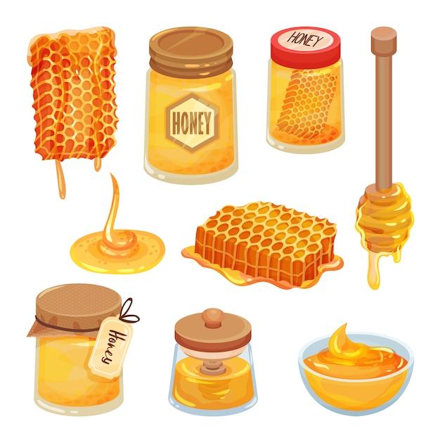 Ensemble D'icônes De Miel De Dessin Animé. Produit Maison Naturel Et Sain. Nids D'abeilles, Bocaux Et Cuillères En Bois D'abeille Vecteur Premium