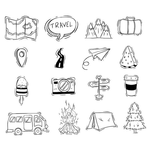 Ensemble d'icônes mignonnes de voyage avec style doodle noir et blanc Vecteur Premium