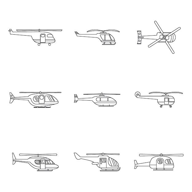 Ensemble d'icônes militaires d'hélicoptère Vecteur Premium