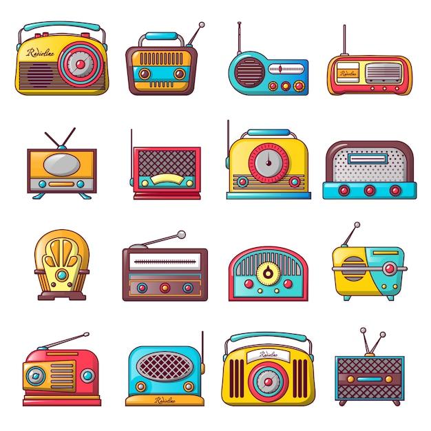 Ensemble d'icônes de musique ancienne radio Vecteur Premium