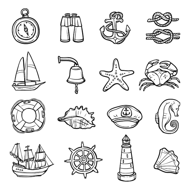 Ensemble d'icônes noir blanc nautique Vecteur gratuit
