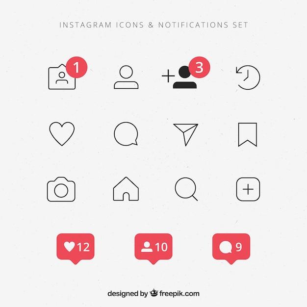 Ensemble D'icônes Et De Notifications Instagram Plat Vecteur gratuit