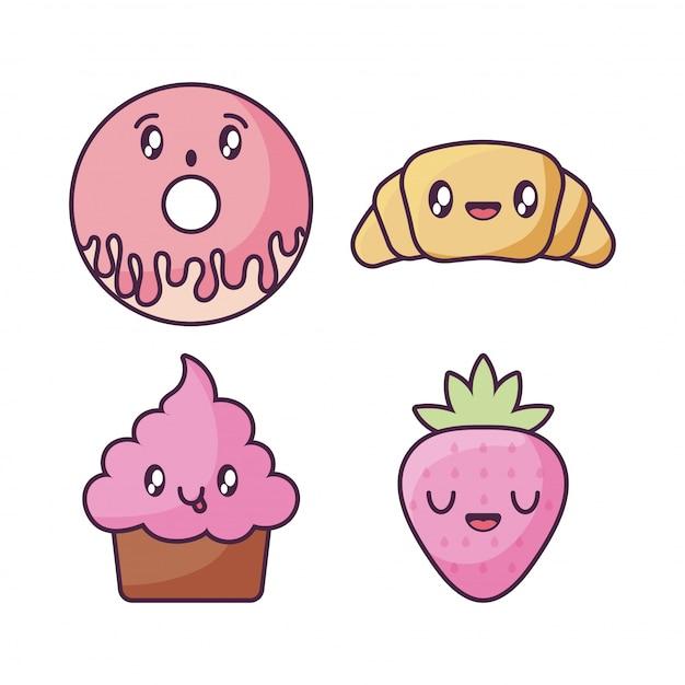 Ensemble D'icônes De Nourriture Dans Un Style Kawaii Vecteur Premium