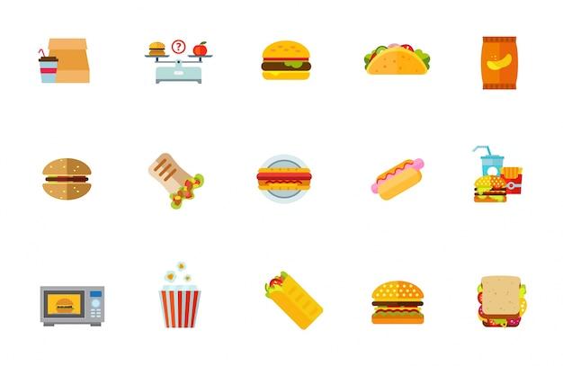 Ensemble d'icônes de nourriture malsaine Vecteur gratuit