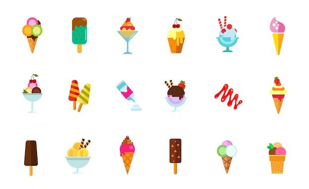 Ensemble d'icônes de nourriture sucrée Vecteur gratuit
