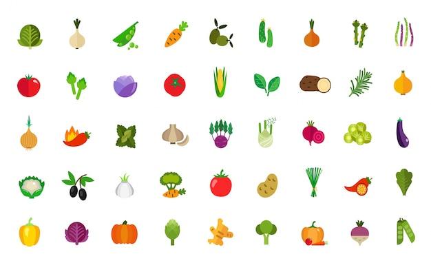 Ensemble d'icônes de nourriture végétalienne Vecteur gratuit