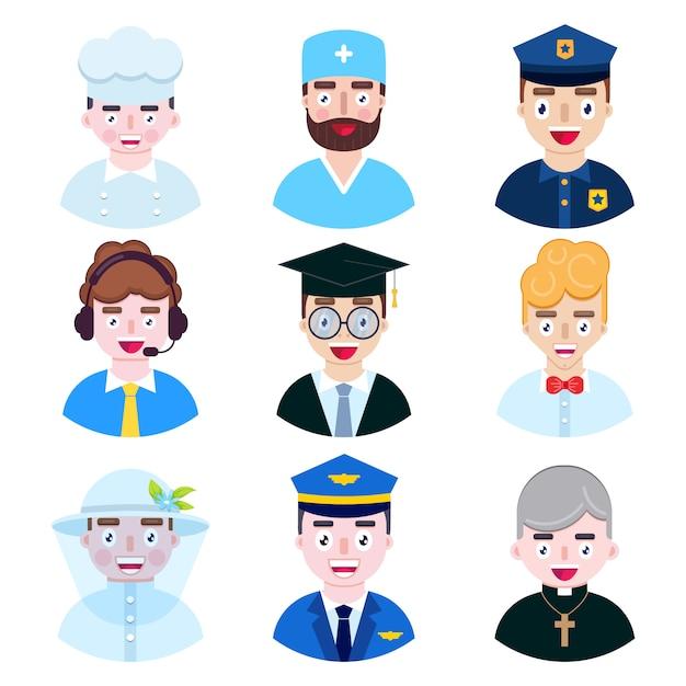 Ensemble d'icônes de l'occupation des personnes sur fond blanc Vecteur Premium