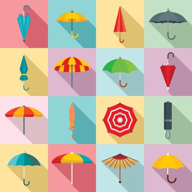 Ensemble d'icônes de parapluie, style plat Vecteur Premium