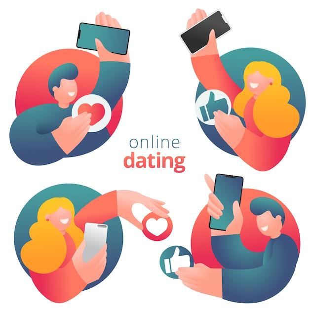 Ensemble d'icônes de personnages de dessins animés masculins et féminins au design plat ayant des rencontres en ligne Vecteur Premium
